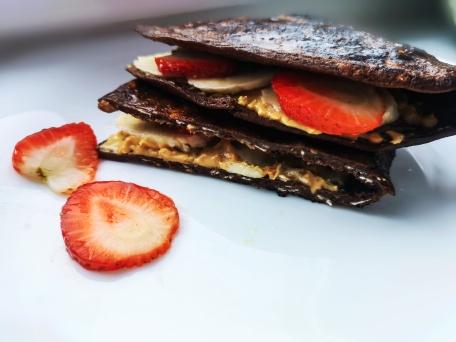 Шоколадный овсяноблин с бананом и арахисовой пастой пп рецепт