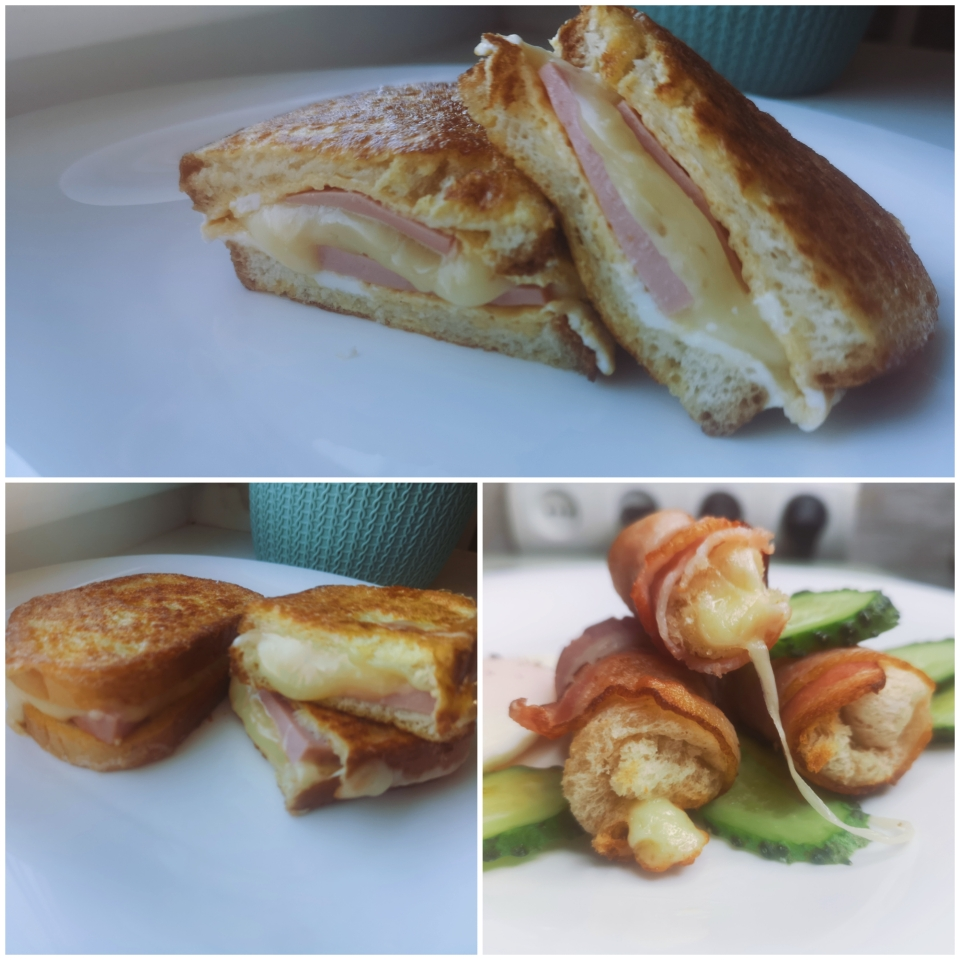Бутерброд с сыром и колбасой в яйце.